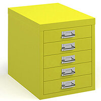 Bisley multi drawers with 5 drawers - yellow
