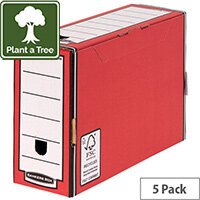 Bankers Box Premium 127mm Transfer File-Red Pack of 5 5805