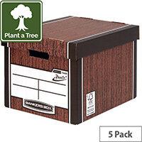 Bankers Box Premium Tall Box Woodgrain Pack of 5 7260520