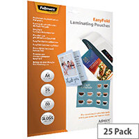 Fellowes Admire EasyFold A4 Laminating Pouches 160 Micron Pack of 25 5601901