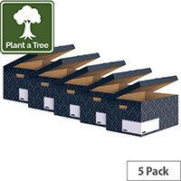 Bankers Box Decor Flip Top Box Grey Pack of 5 4483601