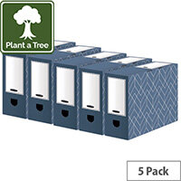 Bankers Box Decor 100mm Transfer File Blue Pack of 5 4483801