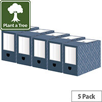 Bankers Box Decor 150mm Transfer File Blue Pack of 5 4483901