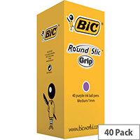 Bic Round Stic Grip Purple Pack of 40 920412