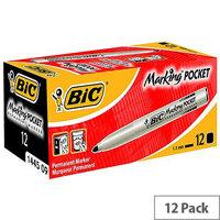 Bic Pocket Permanent Marker Bullet Tip Black Pack of 12