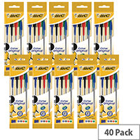 Bic Assorted Cristal Medium Ball Point 4 Pen Pouch (Pack of 10) 8308621
