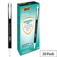 Bic Clic Stic Antimicrobial Ballpoint Pen Black Pack of 20 500461