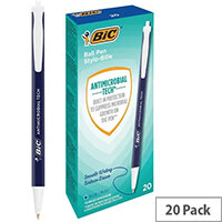 Bic Clic Stic Antimicrobial Ballpoint Pen Blue Pack of 20 500462