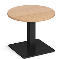 Brescia Circular 600mm Coffee Table  Beech with Flat Square Black Base