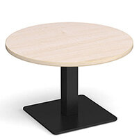 Brescia Circular 800mm Coffee Table  Maple with Flat Square Black Base