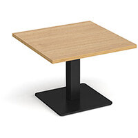 Brescia Square Oak Coffee Table with Flat Square Black Base 700mm