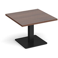 Brescia Square Walnut Coffee Table with Flat Square Black Base 700mm