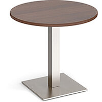 Brescia Circular 800mm Dining Table  Walnut with Flat Square Brushed Steel Base