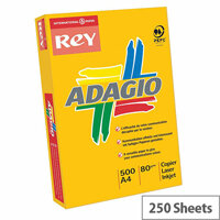 Adagio A4 160gsm Bright Assorted Coloured Card (Pack of 250 Sheets)