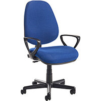 Bilbao fabric operators chair with fixed arms - blue