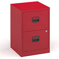 Bisley A4 home filer with 2 drawers - red