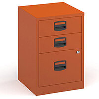 Bisley A4 home filer with 3 drawers - orange
