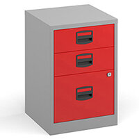 Bisley A4 home filer with 3 drawers - grey with red drawers