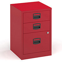 Bisley A4 Home Filer Steel Filing Cabinet With 3 Drawers - Red