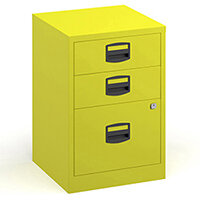 Bisley A4 Home Filer Steel Filing Cabinet With 3 Drawers - Yellow