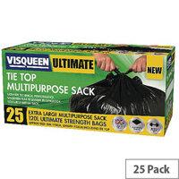 Visqueen Ultimate Tie Top Multipurpose Sacks 120L Black Pack of 25 Sacks