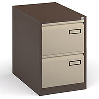 Bisley Steel 2 Drawer Public Sector Contract A4 Filing Cabinet 711mm High - Coffee/Cream