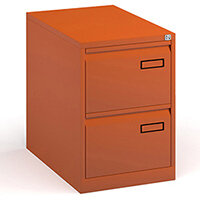 Bisley Steel 2 Drawer Public Sector Contract A4 Filing Cabinet 711mm High - Orange