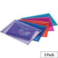 Elba Snap A4 Wallet Polypropylene Assorted 100201306 Pack of 5