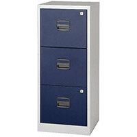 Bisley A4 Homefiler 3 Drawer Grey Blue BY78727