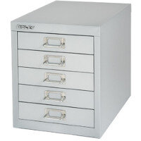Bisley Multi-Drawer Cabinet 12 inches 5 Drawer Non-Locking Silver 12/5