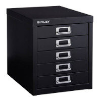 Bisley Multi-Drawer Cabinet 12 inches 5 Drawer Non-Locking Black 12/5