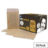 New Guardian 444x368mm 130gsm Manilla Peel and Seal Board Back Envelopes (50 Pack)