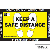Safe Distance Public Health Floor Sign 450x 300mm