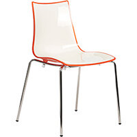 Gecko Orange Shell Canteen & Breakout Stacking Chair with Chrome Legs