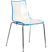 Gecko Blue Shell Canteen & Breakout Stacking Chair with White Legs