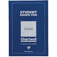 Chartwell Student A4 Graph Pad 5mm Quadrille 50 Sheets Blue Cover J6Q4B