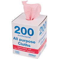 Anti-bacterial Cloths on a Roll 220x370mm Red Pack of 200 100247