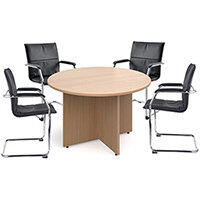 Bundle deal 4 x Essen visitors chairs with RT12 meeting table - walnut