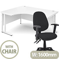 BUNDLE DEAL - Maestro 25 Left Hand Ergonomic L-Shaped Office Desk In White 1600mm White Cantilever Frame - With Vantage V102 Chair In Black