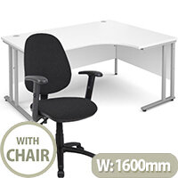 BUNDLE DEAL - Maestro 25 Right Hand Ergonomic L-Shaped Office Desk In White 1600mm Silver Cantilever Frame - With Vantage V102 Chair In Black