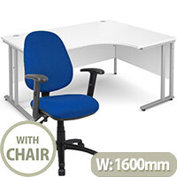 BUNDLE DEAL - Maestro 25 Right Hand Ergonomic L-Shaped Office Desk In White 1600mm Silver Cantilever Frame - With Vantage V102 Chair In Blue