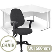 BUNDLE DEAL - Maestro 25 Right Hand Ergonomic L-Shaped Office Desk In White 1600mm White Cantilever Frame - With Vantage V102 Chair In Charcoal