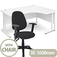 BUNDLE DEAL - Maestro 25 Right Hand Ergonomic L-Shaped Office Desk In White 1600mm White Cantilever Frame - With Vantage V102 Chair In Black