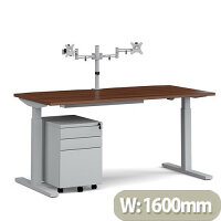 Elev8 Mono Straight Electric Height Adjustable Sit-Stand Desk 1600mm Walnut Top Silver Frame With Double Monitor Arm Steel Pedestal And Cable Tray