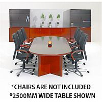 Corniche Executive Cherry Veneer Boardroom & Conference Room Table 10 - 12 Seater W3000xD1100xH720mm