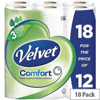 Triple Velvet Toilet Tissue Paper Rolls White 200 Sheets per Roll Pack of 18 Toilet Paper Rolls