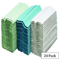 Maxima Green C-Fold Hand Towels 2 Ply White 100 Towels Per Sleeve 24 Sleeves (2400 Sheets) KMAX5052