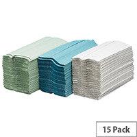 Maxima Green 1 Ply C-Fold Paper Hand Towels 92 Sheets Per Sleeve 15 Sleeves Green (1380 Sheets)