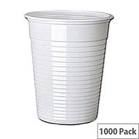 Maxima Budget Plastic Disposable Drinking Cups 7oz/200ml White [Pack of 1000]