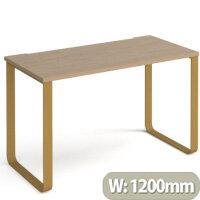 Cairo Rectangular Home Office Desk With Brass Sleigh Frame Legs Kendal Oak Desktop W1200xD600xH730mm